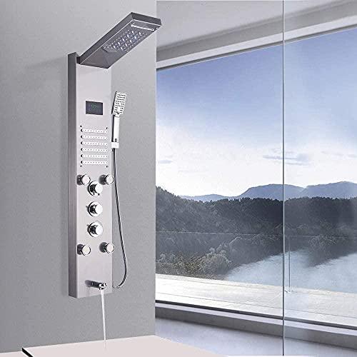 Huin Sistema de ducha de torre de columna con panel de ducha con 5 funciones, potente hidromasaje único y ducha de mano multifuncional-Niquel pulido