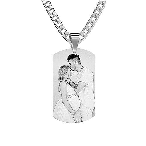Personalized Name Stainless Steel Tag Pendant Necklace Simple Photo Necklace Birthday Anniversary Mother's Day Jewelry for Women Men Titanium Steel Sketch-14'(35cm)