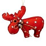 Juguete de árbol de Nochevieja, Kit de suspensión de tejidos de venado con botellones, color rojo