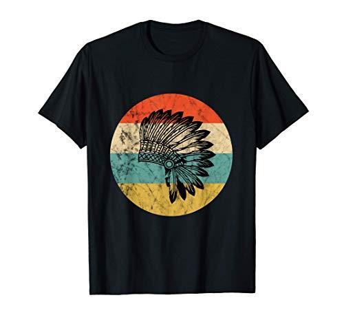 Los nativos americanos tocado indio jefe Retro Atardecer Camiseta