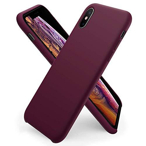 ORNARTO Custodia in Silicone Liquido per iPhone XS Max, Cover Sottile in Silicone Liquido in Gomma Gel Morbida per iPhone XS Max (2018) 6,5 Pollici-Vino Rosso