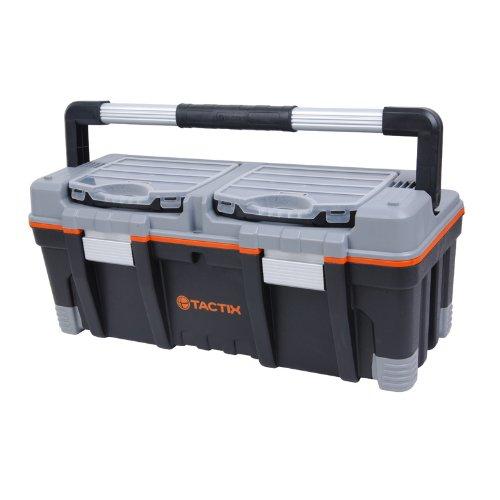 Tactix Caja de herramientas con asas de goma y organizadores extraíbles, 66 cm