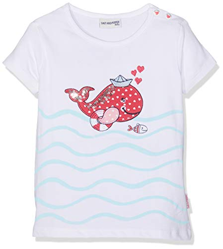 Salt & Pepper Baby-Mädchen B Meer Uni Wal T-Shirt, Weiß (White 010), 68