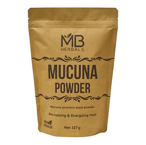 MB Herbals Mucuna Powder 227 Gram   Half Pound 8 oz   Kapikachhu Powder   Mucuna pruriens (White) Seeds Powder   Velvet Bean   Natural Source of L-Dopa   Stress Relief   Promotes Healthy & Good Mood