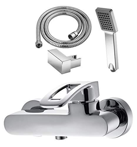 GRIFERIAS Borrás Serie LAX - eengreeps douchearmatuur LAX0484C - set met doucheslang, wandhouder en handleiding, chroom - installatie badkamer