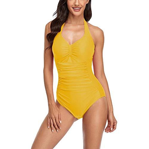 Una Sola Pieza Traje Baño, Halter Sexy Trajes Baño Elásticos Suaves con Almohadilla para Pecho Bikini Fruncido Cuello Colgante Vendaje Surf Natación Vadear Ropa Playa