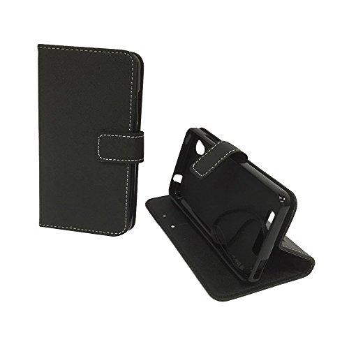 König Design Handyhülle Kompatibel mit ZTE Blade A452 Handytasche Schutzhülle Tasche Flip Hülle mit Kreditkartenfächern - Onyx Schwarz