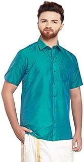 SJS-Men's Half Sleeve Solid Art Silk Shirt (Dark Turquoise, 36)