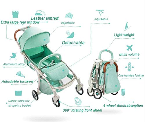 LAMTON Baby Stroller for Newborn, 4 Wheel Baby Stroller Lightweight High Landscape Travel System Foldable with Shock Absorbers from Birth, 40x100cm (Color : Green) LAMTON Adjustable handlebars for people of all heights can adjust the most comfortable push position Easy to fold, can be picked up in the trunk of the car, his parents urge him to go shopping, travel, walk, play and talk, or picnic outdoors ★ Aluminium alloy frame, sturdy, lightweight, durable, easy to store and travel 2