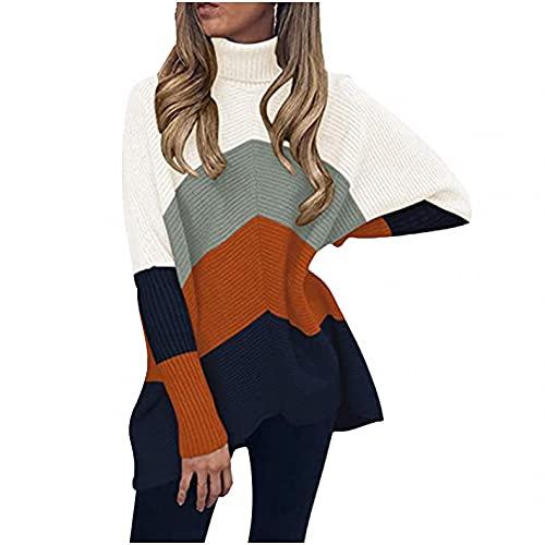 SHIZUANYUE - Jersey para mujer, informal, suelto, de manga larga, elegante, cuello alto, estilo Batwing Oversize, gris, L