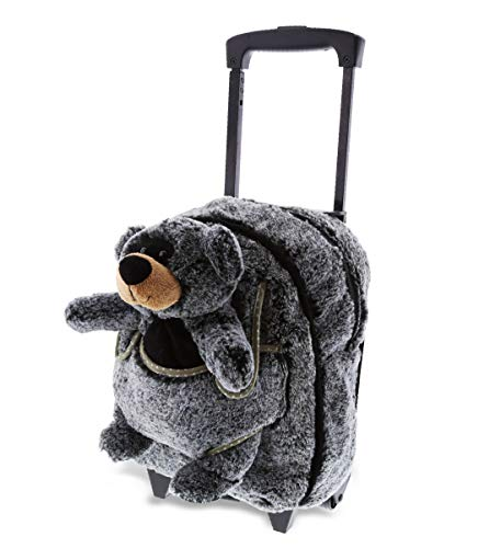 DolliBu Black Bear Plush Trolley & Purse Set - 3-in-1 Kids Trolley, Backpack, Bear Purse, Soft Plush Backpack on Wheels, School Rolling Bag, Travel Luggage with Removable Plush Toy Purse - 15'