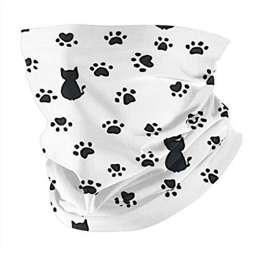 Balaclava Big Cat Paw Print Traces Multifunctional Magic Scarf Outdoor Headwear Bandana Sports Tube UV Face Cover for Workout Yoga Black