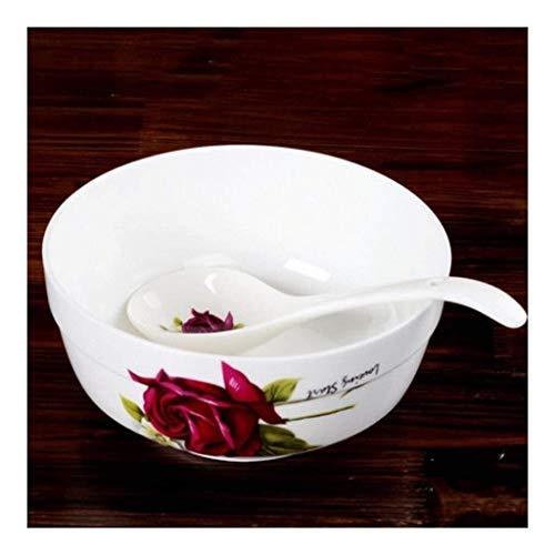 WENHAO LJW Bowl Ceramic Bowl Bone Chiny Zupa Miska 7 cali Duże naczynia Stołowe Bowl Home Soup Basin(Kolor:Bez łyżki)|Kod towaru:LJW-1302 (Color : No Spoon)