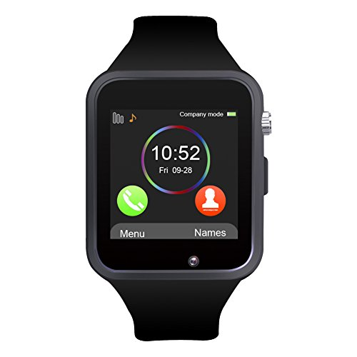 Padgene Bluetooth Smartwatch,Touchscreen Wrist Smart Phone Watch Sports Fitness Tracker with SIM SD Card Slot Camera Pedometer Compatible with iPhone iOS Android for Kids Men Women (Black)