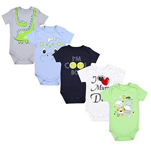 TupTam Unisex Baby Kurzarm Body mit Aufdruck Spruch 5er Pack, Farbe: Junge 3, Größe: 74