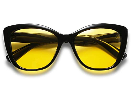 FEISEDY Yellow Night Glasses Vintage Polarized Square Jackie O Cat Eye Sunglasses B2451 (Yellow, 56)