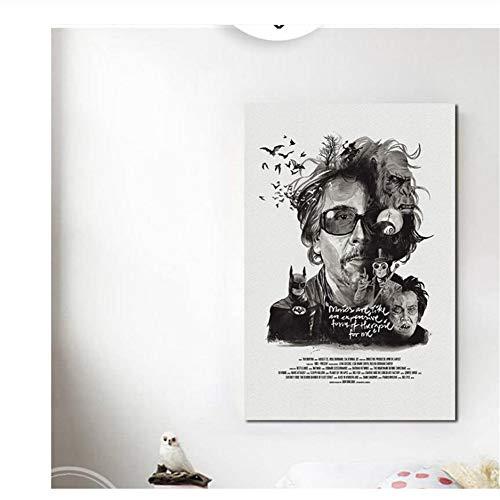 nr Berühmte Regisseur Quentin Tarantino Gemälde Neutral Schwarz und Weiß Moderne Wandkunst Home Decoration Druck auf leinwand-50x70cm Kein Rahmen
