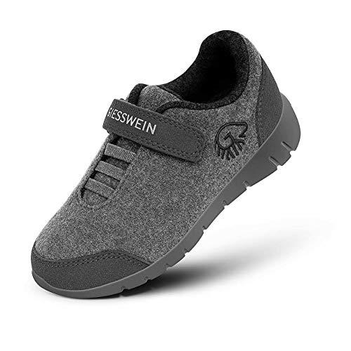 GIESSWEIN Merino Runners Kids - Atmungsaktive Kinder-Schuhe aus 100% Merino Wolle, Low-top Sneakers für Jungen & Mädchen, Leichte Halbschuhe mit Klettverschluss