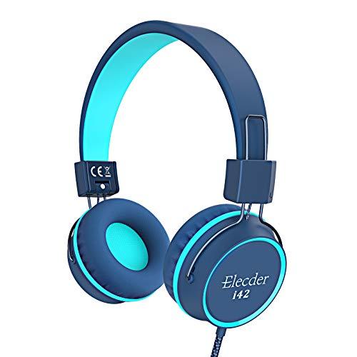 Elecder i42 Kids Headphones, Safe Volume Limited 85dB, Foldable Adjustable On Ear Headphones, 3.5mm Jack Compatible with Cellphones, Computer, MP3/4 Kindle Tablet School (Blue/Teal)