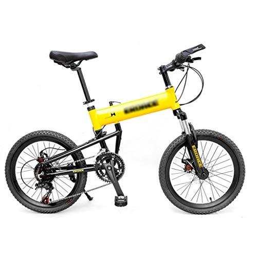 Fahrräder Klapprad 20-Zoll-Folding Mountain Bike Scheibenbremse Jugend Racing Variable Speed Fahrrad 21 Geschwindigkeit Vorgerückte Fahrrad Freizeit (Color : Yellow, Size : 20inches)