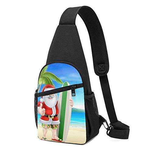 DJNGN Sling Backpack Santa Claus With The Beach And Surfboard Sling Bag Crossbody Shoulder Bag Travel Hiking Chest Bag Daypack