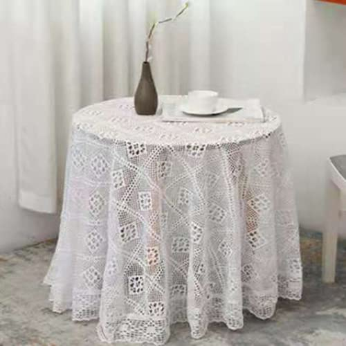 JDHANNE Mantel decorativo hueco de encaje blanco mantel rectangular mantel pequeño cuadrado mantel mesita de noche, patrón exquisito blanco puro redondo 180x180