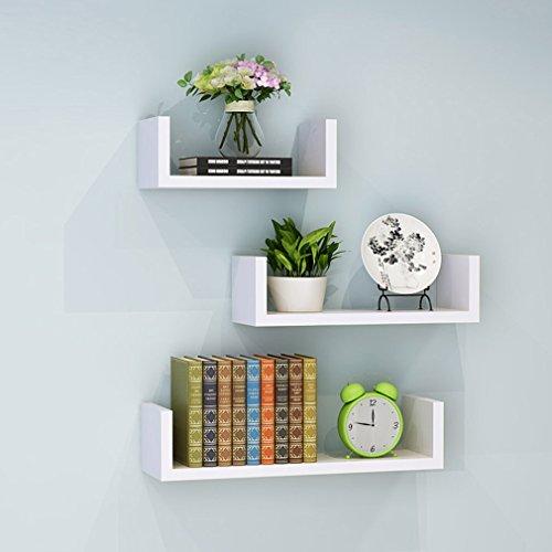 LSLS Estantes flotantes Conjunto de 3 estantes de pared de pared en forma de U Cubos decorativos en forma de U Espesamiento Ampliado Sala de estar Dormitorio Display Estante estante (Tamaño: 30/40 / 5