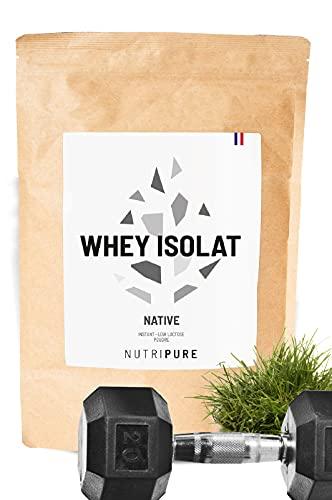 WHEY ISOLATE NATIVE 94% • Sans lactose • 24% BCAA & 52% EAA • Lait frais de pâturages français • 94% Protéines non dénaturées • Goût neutre • 6 Arômes naturels • Made in France • NUTRIPURE