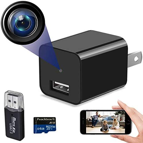 Spy Camera Charger USB Charger Camera with WiFi and 64GB SD Card Portable Mini Hidden Spy Camera product image