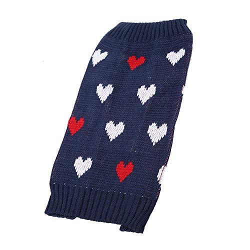 Fdit Hond Hoodies Warm Sweater Huisdier Kleding Jassen Zachte Hart-patroon Knitwear Coltrui Shirt Jacket Blauw, L, Blauw