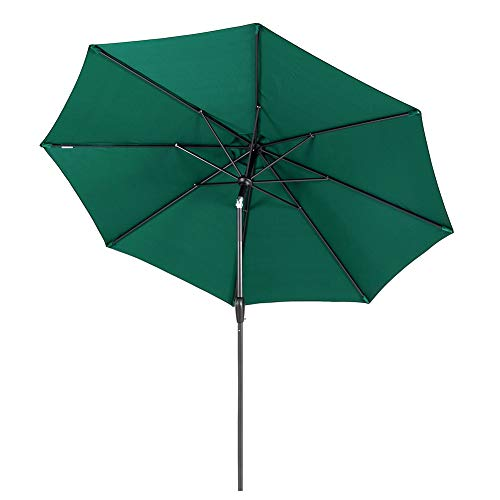 Tempera Patio Umbrella 9 Ft Outdoor Garden Table Umbrella with Push ButtonTilt and Crank 8 Ribs, Forest Green