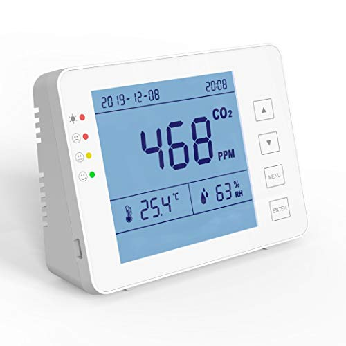 emissimo CO2 Messgerät, CO2 Monitor CO-20-Pro Desktop Kohlendioxid Detektor Alarm Funktion, CO2 Ampel