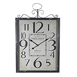 Essential Dcor Entrada Collection Essential Decor Entrada Collection Metal Wall Clock, 27.5 x 17.7 x 2.3, Gray