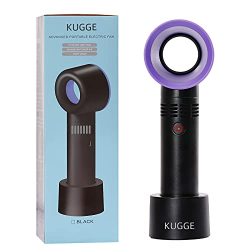 Kugge Mini Bladeless Eyelash Fan Dryer, Upgraded Quiet Portable Rechargeable Handheld Lash Fan for Eyelash Extension Application (Black)