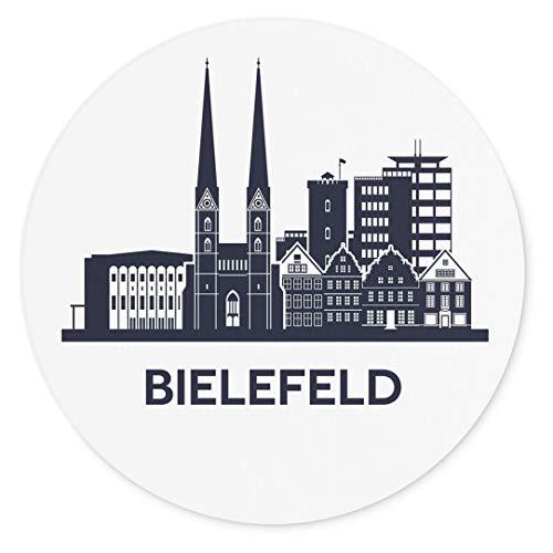 Merchandise for Fans Bielefeld Nordrhein-Westfalen Silhouette, Mauspad rund aus Textil 20cm, Rutschfester Kautschukrücken, für alle Maustypen