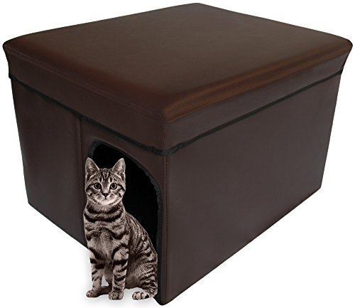 Mable Ruth Ottoman Pet House Hidden Litter Box Enclosure & Pet Bed Friendly