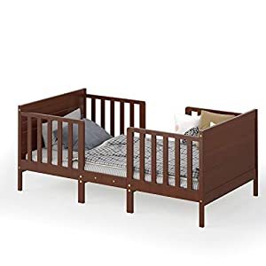 Costzon 2 in 1 Convertible Toddler Bed, Classic Wood Kids Bed w/ 2 Side Guardrails, Headboard, Footboard for Extra Safety, Children Bed Frame Convert to Two Chairs/Sofas, Gift for Boys Girls