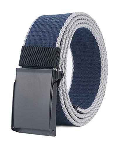 Longwu Cintura da uomo in tela di cotone con fibbia militare in metallo nero Flip-Top per il golf all'aperto Blu