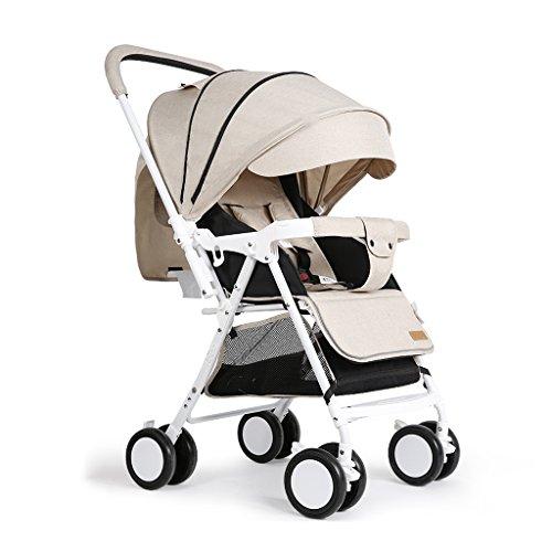 Sillas de paseo Cochecito de bebé Bidireccional portátil de aleación de aluminio bebé cuatro estaciones cochecitos, gran tamaño cesta de dormir plegable niños verano carrito, material de lino de alta