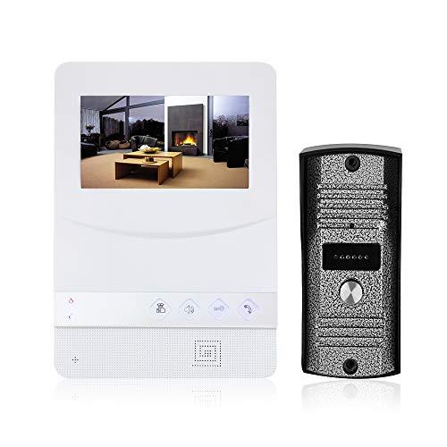 OWSOO Videoportero con Pantalla LCD de 4.3 Pulgadas, Intercomunicador de Vídeo, Soporte Visión Nocturna por Infrarrojos, Intercomunicador Bidireccional, Impermeable