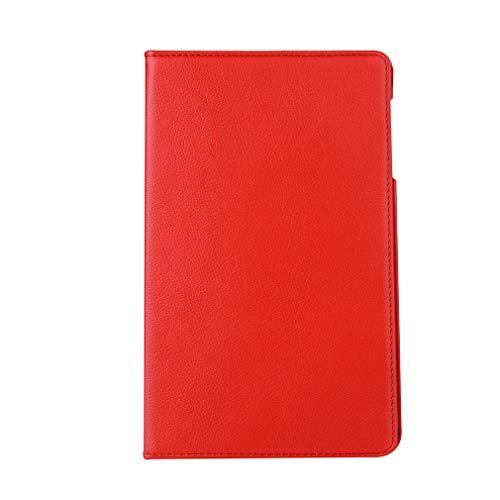 LMFULM® Hülle für Huawei MediaPad T1 10.0 / T1-A21W (9,6 Zoll) PU Leder Ultra Dünn 360 Grad Rotierend Stand Cover Tasch Schutzhülle für Huawei T1 10.0 Rot