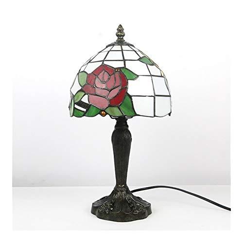 Tiffany estilo de tabla de la lámpara de pie 8Inch ancha ligera de la decoración de la vendimia de la antigüedad del vitral de Rose roja for sala de estar Familia-
