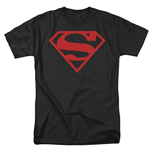 Superman Shield Red On Black Shirt, Black, XXX-Large