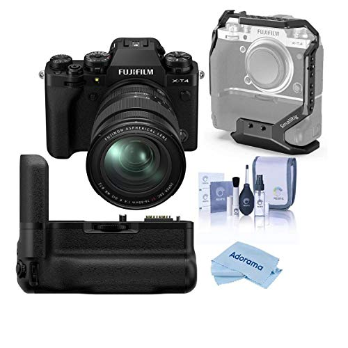 Fujifilm X-T4 Mirrorless Digital Camera with XF 16-80mm f/4 R OIS WR Lens, Black Vertical Battery Grip for X-T4, Cleaning Kit, Microfiber Cloth