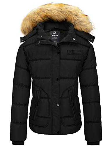 Wantdo Women's Quilted Winter Puffer Coat Hooded Warm Puffer Jacket Black Medium