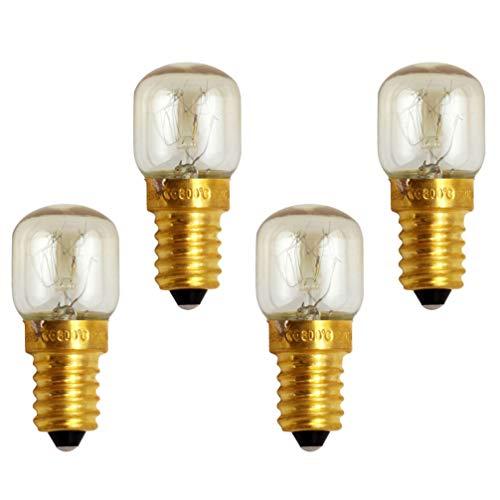 SOLUSTRE E14 25W Kleine Glühlampe Backofenlampe Mikrowellenlampe Warmweiß Bis 300°C Hitzebeständiges 4pcs/Pack
