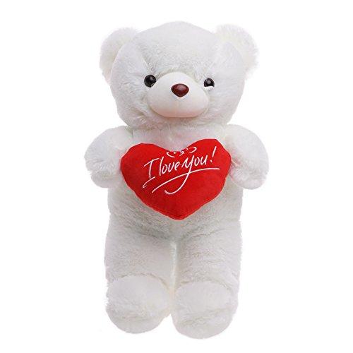 THE TWIDDLERS Oso Peluche 45cm con 'I Love You' de corazón - Blanco Teddy Bear con Sensación De Felpa Suave Regalo para Día De San Valentín –Tierno Y Romántico para Pareja, Y Ocasiones Especiales