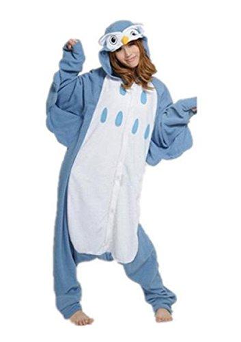Anbelarui Eule Jumpsuit Tier Cartoon Fasching Halloween Kostüm Sleepsuit Unisex Tier Cosplay Fleece-Overall Pyjama Schlafanzug Erwachsene (M (156-165CM))