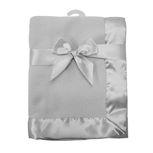 American Baby Company Fleece Blanket 30 X 40 with 2 Satin Trim Grey for Boys and Girls