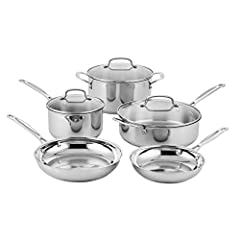 "Set Includes: 2.5-Quart Saucepan with Cover, 4-Quart Sauce Pan with Helper and Cover, 6-Quart Stock Pot with Cover, 8"" Skillet, 10"" Skillet The kitchens of France were the inspiration behind the elegant Cuisinart Classic Stainless Cookware Collection..."